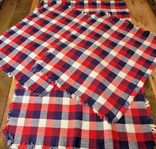 4 Vintage Placemats Americana Country Cloth Set Red White Blue Homespun ... - $24.49