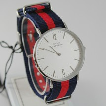 CAPITAL WATCH QUARTZ MOVEMENT 36 MM CASE, BLUE AND RED FABRIC BAND NYLON VINTAGE image 1
