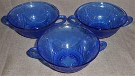 Set (3) 1930s-40s Hazel Atlas Royal Lace Pattern Cobalt Blue Cream Soup Bowls - $98.99