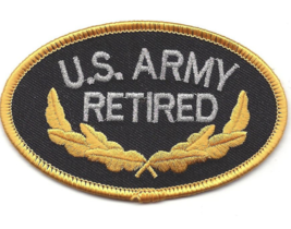 "3.5"" ARMY RETIRED EMBROIDERED PATCH - $23.74"