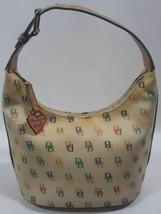 Dooney & Bourke Hobo Bucket Bag IT Collection Creme Multicolor Monogram ... - $62.89