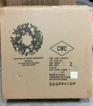 "32"" Pre-Lit Silver Ornament Wintery Pine Artificial Christmas Wreath NEW image 5"