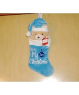 My First Christmas Blue Teddy Bear Holiday Stocking ~New - $14.20