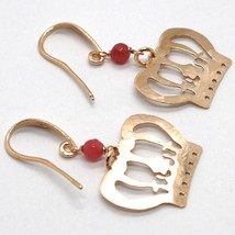 Silver Earrings 925 Laminated in Rose Gold le Favole with Crown Princess image 1