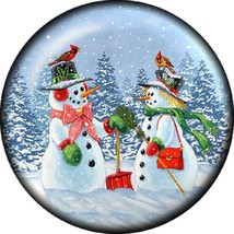 Snap button Snowman Couple 18mm charm chunk cardinal - $8.49
