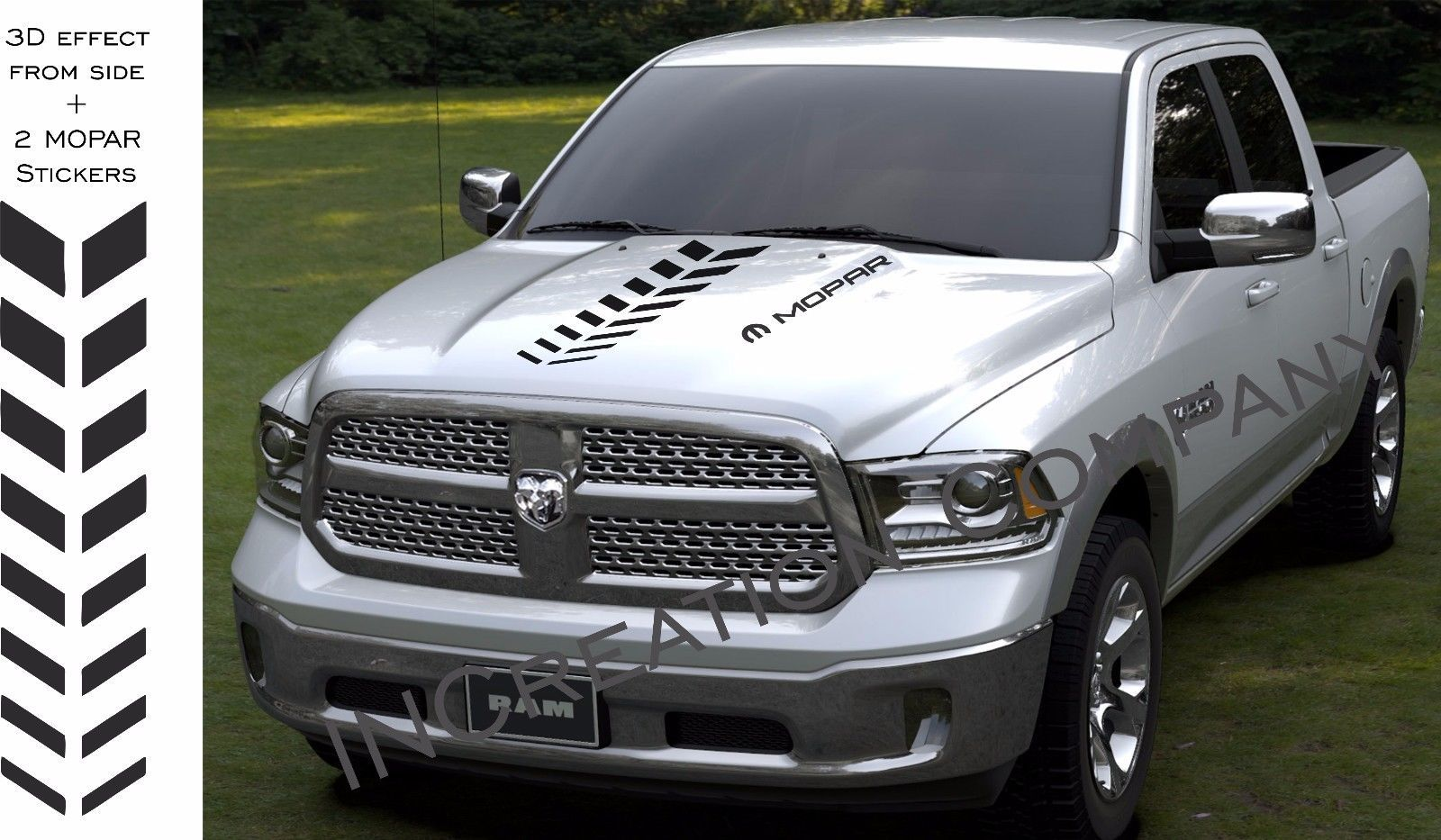 Hood vinyl set of decals Dodge Ram 1500 rally stri