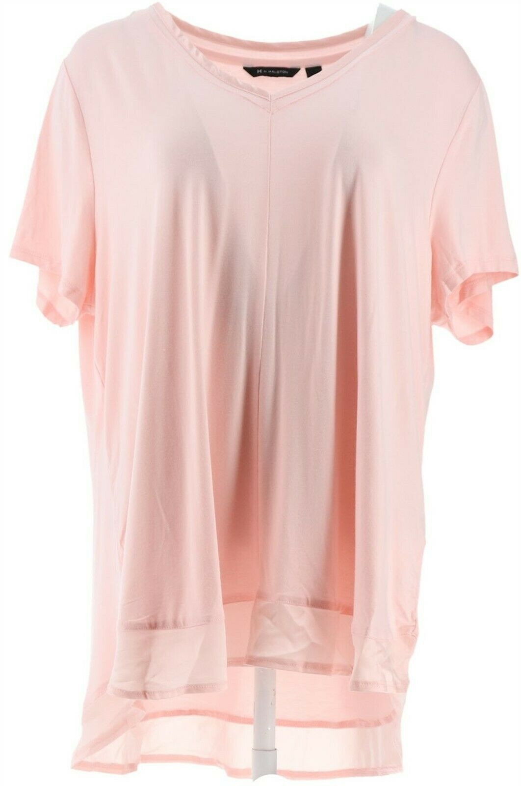 Primary image for H Halston Double Layer V-Neck Short-Sleeve Knit Top Pure Pink 1X NEW A353398
