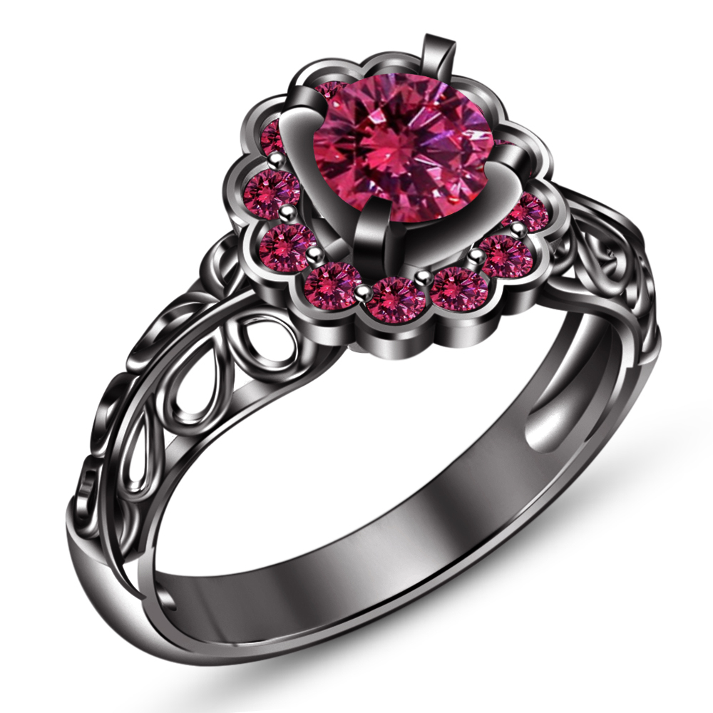 14k Black Gold FN. 925 Sterling Silver Round Cut Pink Sapphire Bridal Ring Set