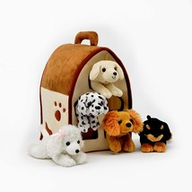 Plush Dog House -Five (5) Stuffed Animal Dogs (Dalmation, Yellow Lab, Ro... - $32.99