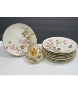 8 Carlsbad Austria Hand Painted Plates and Matching Vase Floral Gold Cre... - $148.50