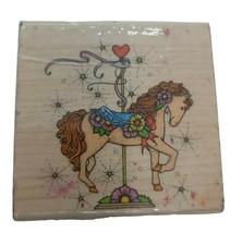 VTG Wood Stamp Floral Carousel Horse Filly Craft Stamper Hero Arts F396, 1991 - $14.84