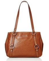 New Calvin Klein Women Leather Satchel Bag Luggage Color - $135.57