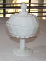 Westmoreland Milk Glass grapes paneled Compote Candy Bowl Dish Vintage~ - $29.69