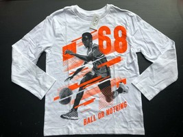 Children's Place Boy 7/8 White Black Orange Basketball Long Sleeve Tee T... - $4.50