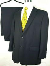 Joseph & Feiss Mens Suit Size 48 Long 43 x 29 Dark Gray Pinstripes 100% ... - $89.05
