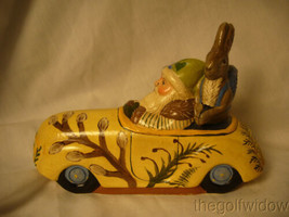 Vaillanc/2ourt Folk Art Spring Break Santa in a Car with  Bunny Signed no.18018 image 2