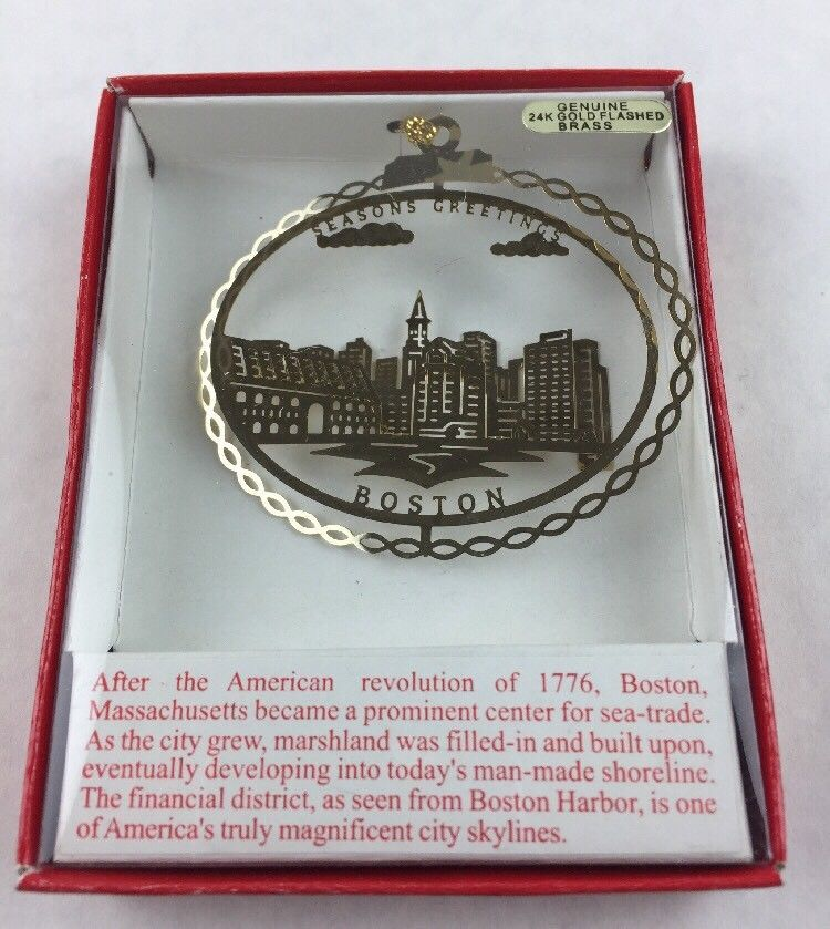 Primary image for Nations Treasures Boston Massachusetts Cityscape Brass Metal Souvenir Ornament