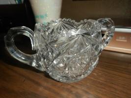 Vintage American Brilliant Cut Crystal Double Handle Sugar Bowl - Sawtoo... - $24.63
