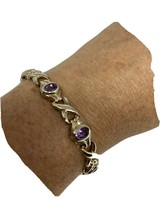 Vintage Purple Amethyst Bracelet 925 Sterling Silver Tennis - $122.76