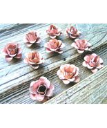 TEN metal rose flowers for accents, embellishments, crafting, Blush Pink  - $27.98