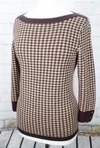 TALBOTS Merino Wool Sweater Houndstooth Boat Neck Pullover Brown Size Small - $47.52