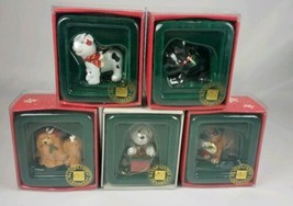 Lot of 5 Russ Wags To Whiskers Christmas Ornaments Dog Dogs Puppy Hand P... - $24.70