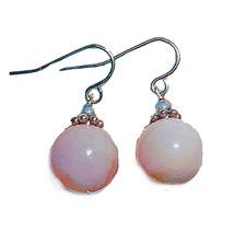 12mm Pink Opal Sterling Silver Drop Earrings - $24.99
