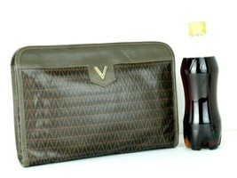 Auth Mario Valentino Brown PVC Logo Canvas & Leather Secondary Clutch Ba... - $107.91