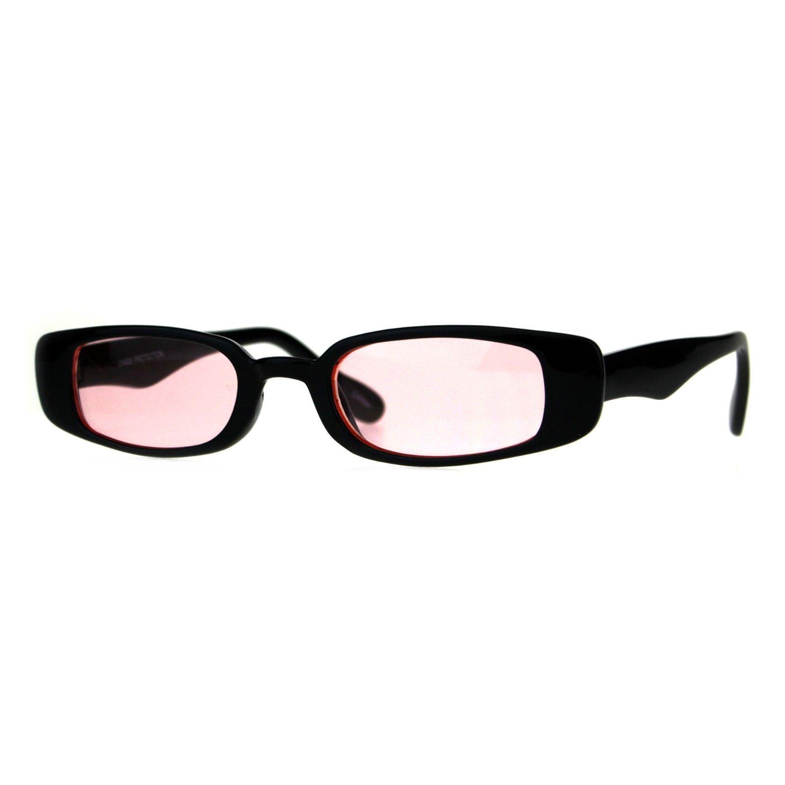 Super Slim Sunglasses Womens Thin Rectangular Black Frame Color Lens UV 400