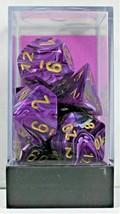 Chessex 7 Piece Dice Set Vortex Purple w/Gold 27437 D4 D6 D8 D10 D12 D20 - $9.99