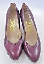 Vintage SALVATORE FERRAGAMO Burgundy Leather Pump Shoes Size 8.5 A - $38.65