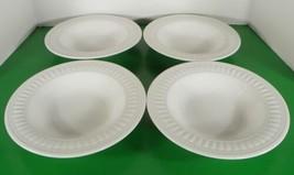 Oneida Athena ARIEL Rim Soup Bowl (s) LOT OF 4 White Embossed Stoneware - $24.70