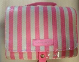 New Victoria's Secret Sequins 4-in-1 Make-up Cosmetic Bag Case Pink/White - $33.65