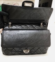 Auth Chanel Black 2.55 Reissue Quilted Age Calfskin 227 Jumbo Double Flap Bag  image 7