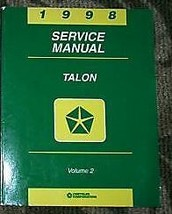 1998 EAGLE TALON Service Repair Shop Manual VOLUME 2 ONLY MOPAR DEALERSH... - $6.92