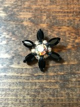 Fashion Jewelry Brooch-Pin-Flower-Black-Unbranded-Art Deco-Gatsby-Fun-Ch... - $5.00