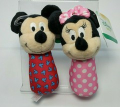 "Mickey Mouse and Minnie Mouse Stick Rattles ""Disney Baby"" New w/Tag - $6.81"