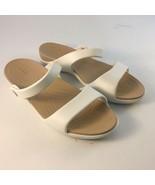 Crocs Women's Sz 9 Sandals Cream White / Tan Double Strap Beach Pool Lake - $17.81