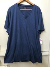 ALFANI Mens BLUE SPLIT CREW-NECK HENLEY SHORT SLEEVE T-SHIRT XXL NWT - $18.95