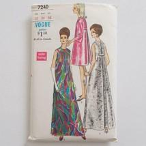 Vogue Vintage 7240 Lounge Cocktail Dress Pattern 34 Bust Size 12 Mod Era - $9.89