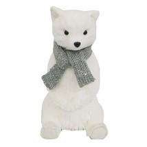 Bear Silver Scarf Sitting Christmas Figurine Flocked Wondershop Holiday Decor