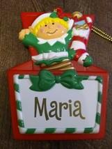Stravina Elf Santa's Helper Maria Package Tag Personalized Hanging Ornament - $29.35
