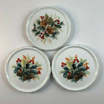 Gibson Grand Nobility Christmas Holiday Coasters Pine Cones Lot of 3 - $12.82