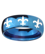 8mm Multiple Fleur De Lis Dome Blue Tungsten Carbide Men's Bands Ring - $39.99