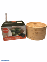 IMUSA Asian Bamboo Steamer 10 Inch Two Trays And Lid Kitchen Cooking Ope... - $14.20