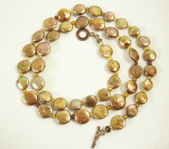 COPPERY PEARLY LUMINOUS DISC BEADS NECKLACE STRAND STRING TOGGLE CLASP V... - $14.84
