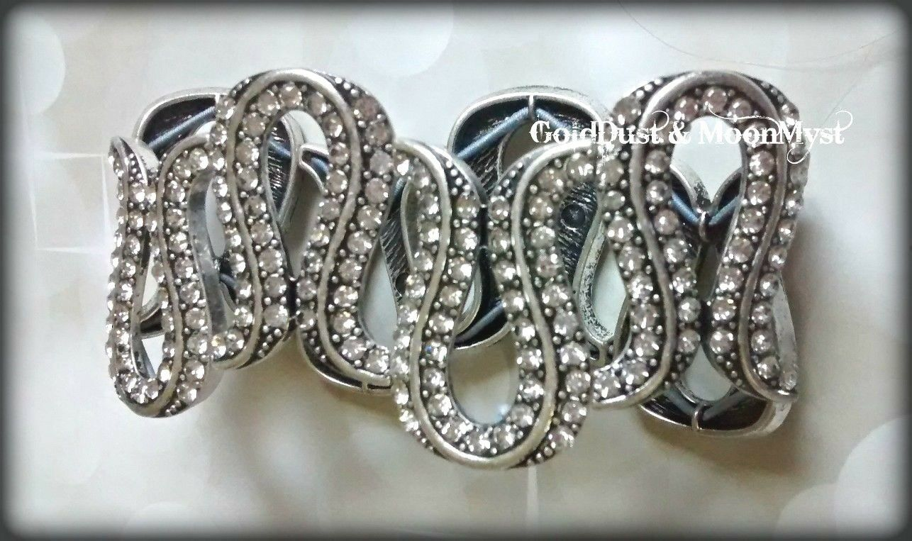 Avon Glamorous Life stretch bracelet antique silver w lots of crystals ~ RARE ~