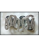 Avon Glamorous Life stretch bracelet antique silver w lots of crystals ~... - $14.80