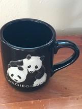 Large Black Stoneware SAN Diego Zoo Souvenir Two Pandas Coffee Cup Mug –... - $10.39