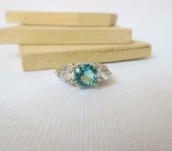 Vintage Blue Crystal Aquamarine Rhinestone Sterling Silver Ring Size 6 3... - $20.39